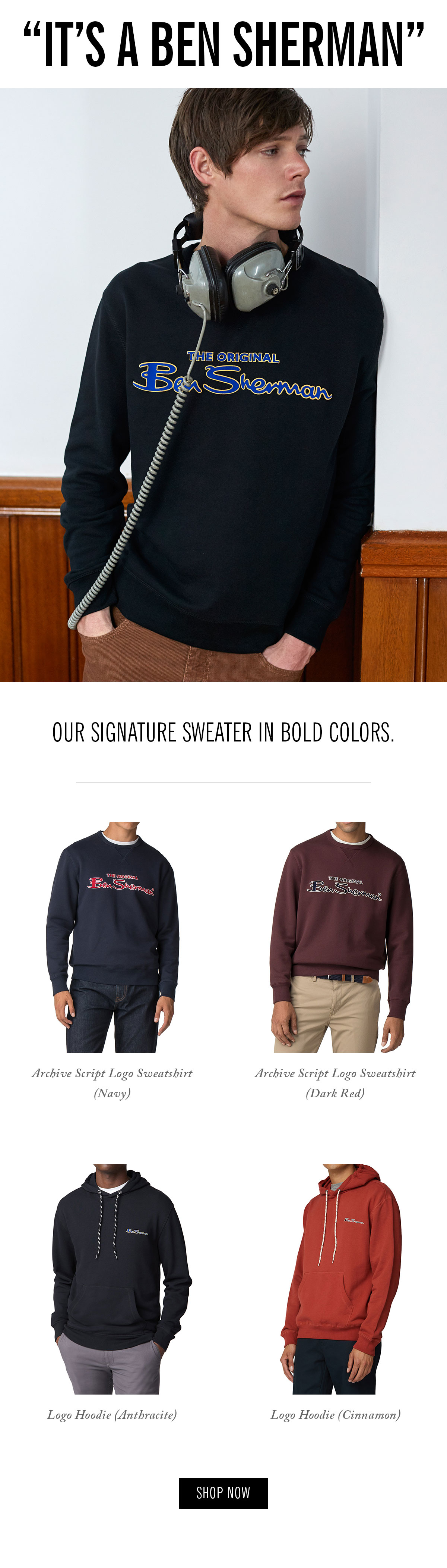 It's a Ben Sherman | sweaters with the Ben Sherman script logo across the chest