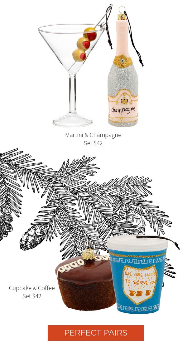 Hudson Grace Ornaments - Martini and Champagne Set $42 .?Cupcake and Coffee Set $42