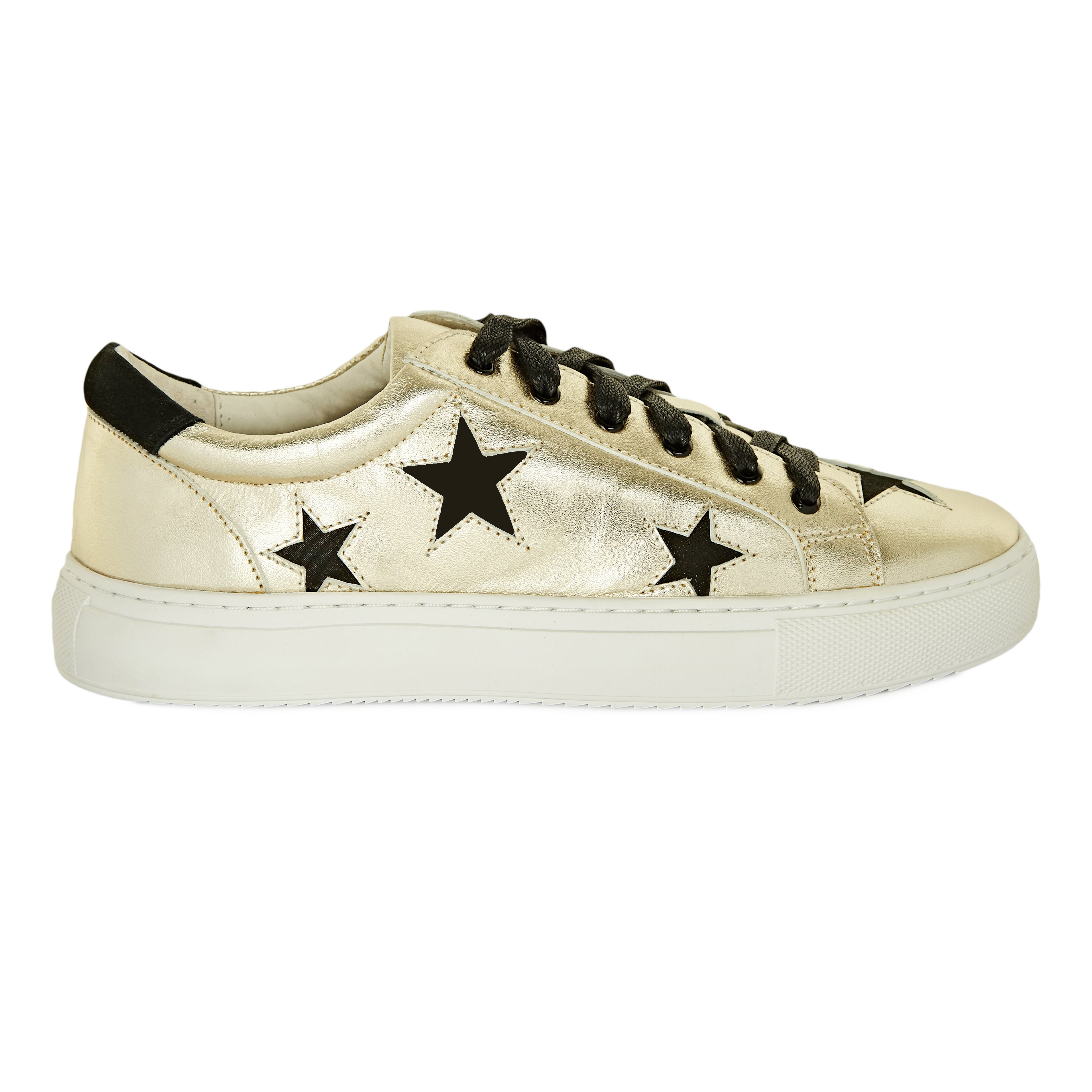 Hoxton - Gold with Black Stars Leather Trainers