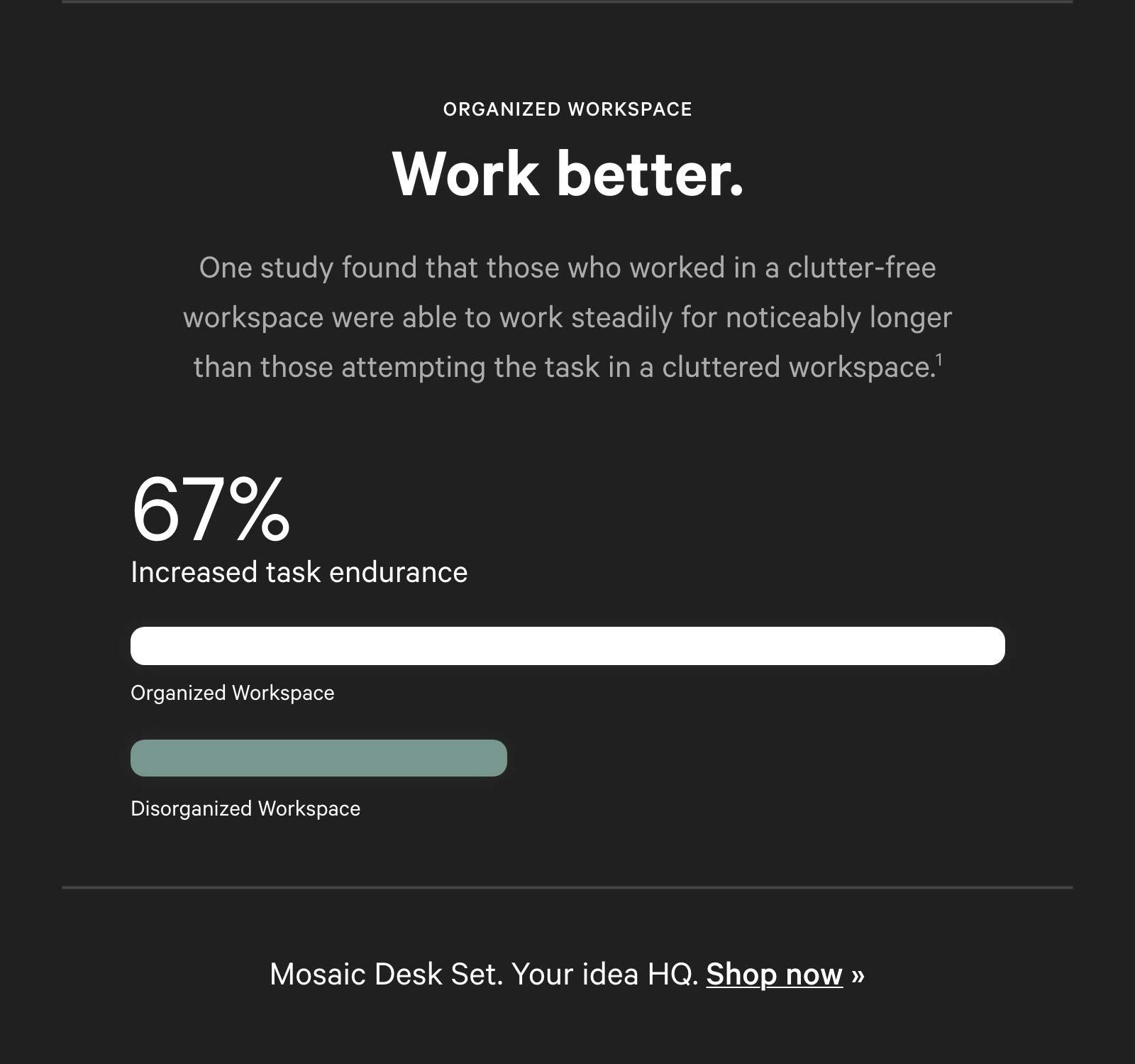 Work better. 67% increased task endurance.