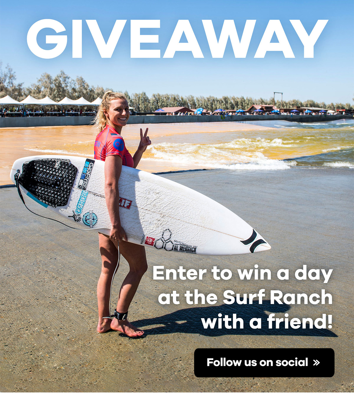 Giveaway | Enter to win a day at the Surf Ranch with a friend! | Follow us on social >>