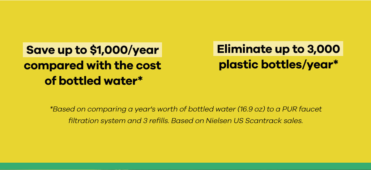 Save up to $1,000/ year compared with the cost of bottled water. Elimate up to 3,000 plastic bottles/year. - Based on comparing a year''s worth of bottled water (16.9 oz) to a PUR faucet filtration system and 3 refills. Based on Nielsen US Scantrack sales.