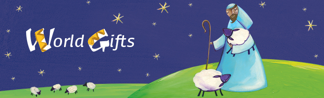 Shop World Gifts today. A Shepard tends to his sheep beneath a starry sky.