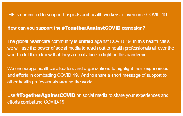 How can you support the #TogetherAgainstCOVID campaign?