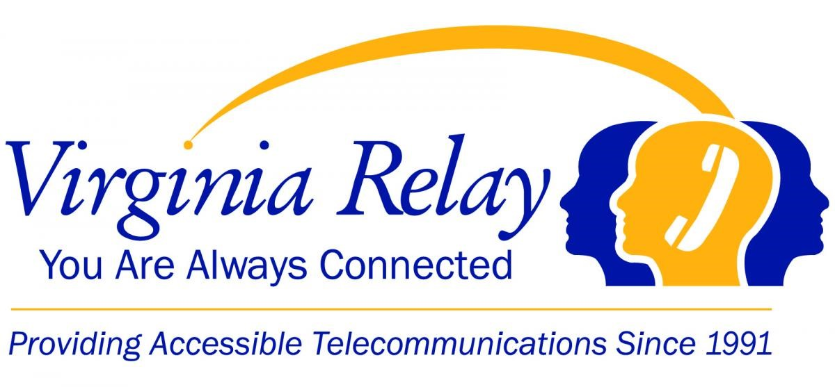 Virginia Relay logo - silhouettes of 3 people''s heads with an icon of a telephone text - you are always connected providing accessible telecommunications since 1991