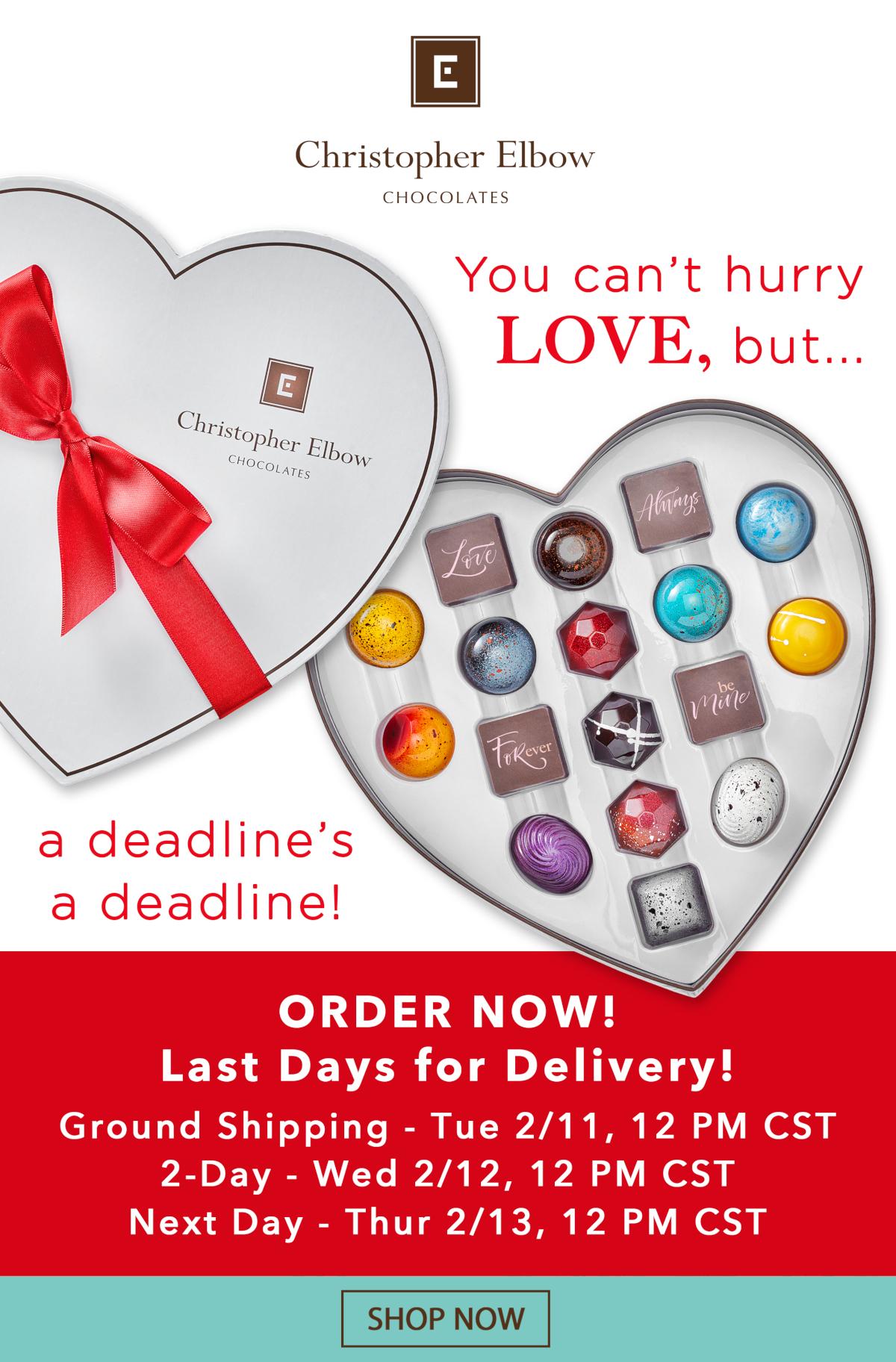 Chocolate Valentine's Day Gift Order Deadlines