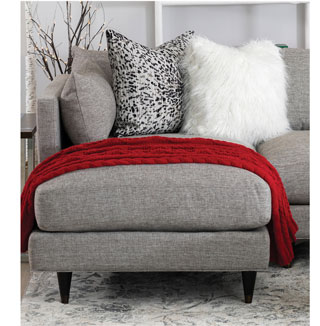 Contemporary Chaise Sectional - 6 pillows included