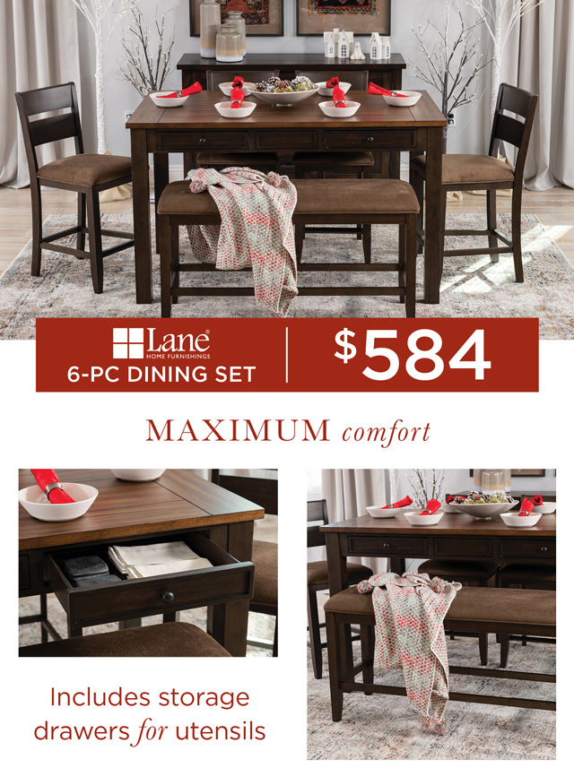 Six-Piece Counter-Height Dining Table Set