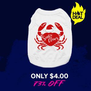 Santa Claws Holiday Crab Dog Shirt - White