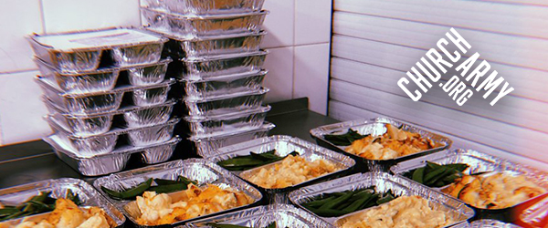 Takeaway boxes with meals for the homeless women at the Marylebone Project