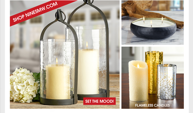 STYLISH DECOR FOR EVERY ROOM AND SETTING - CANDLE HOLDERS - CANDLE TRAYS - FLAMELESS CANDLES