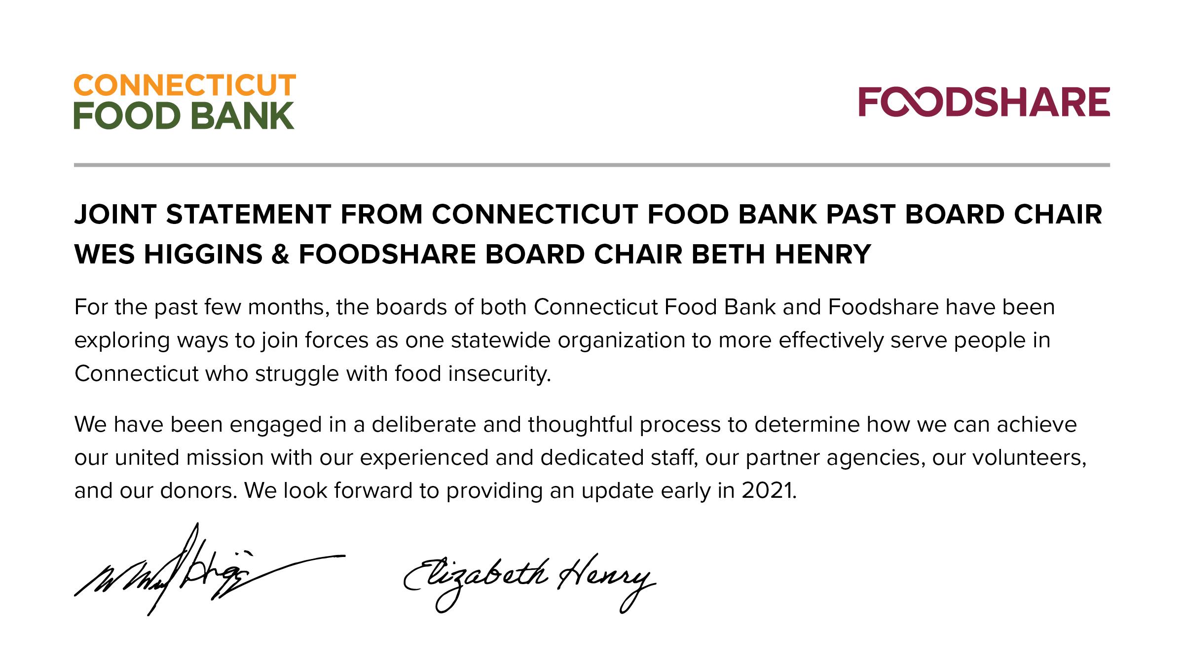 Connecticut Food Bank Announcement