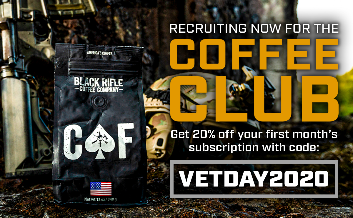 Join the Coffee Club with Code: VETDAY2020 for 20% Off Your First Month