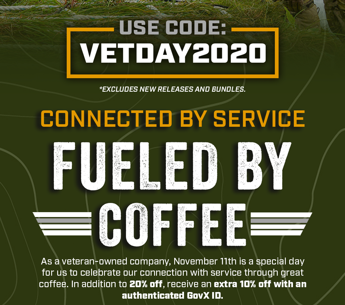 Use Code: VETDAY2020