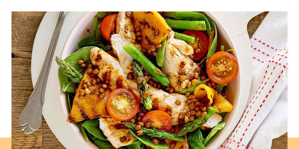 Grilled pumpkin, asparagus and chicken salad sensational