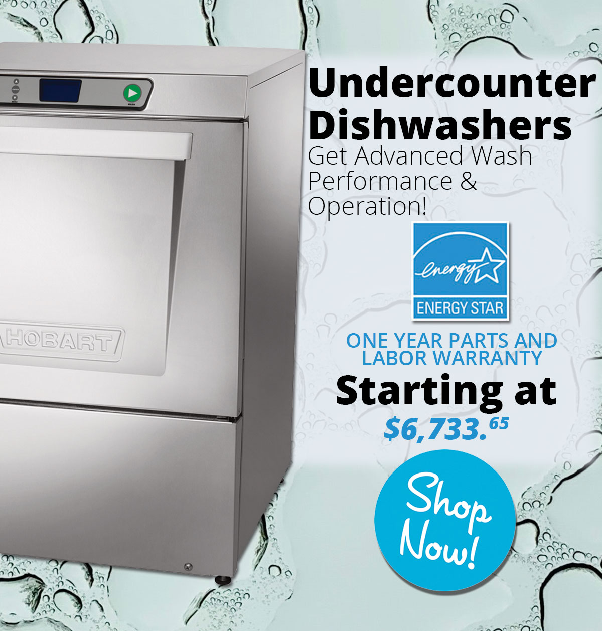 Hobart Undercount Dishwashers starting at $6,733.65