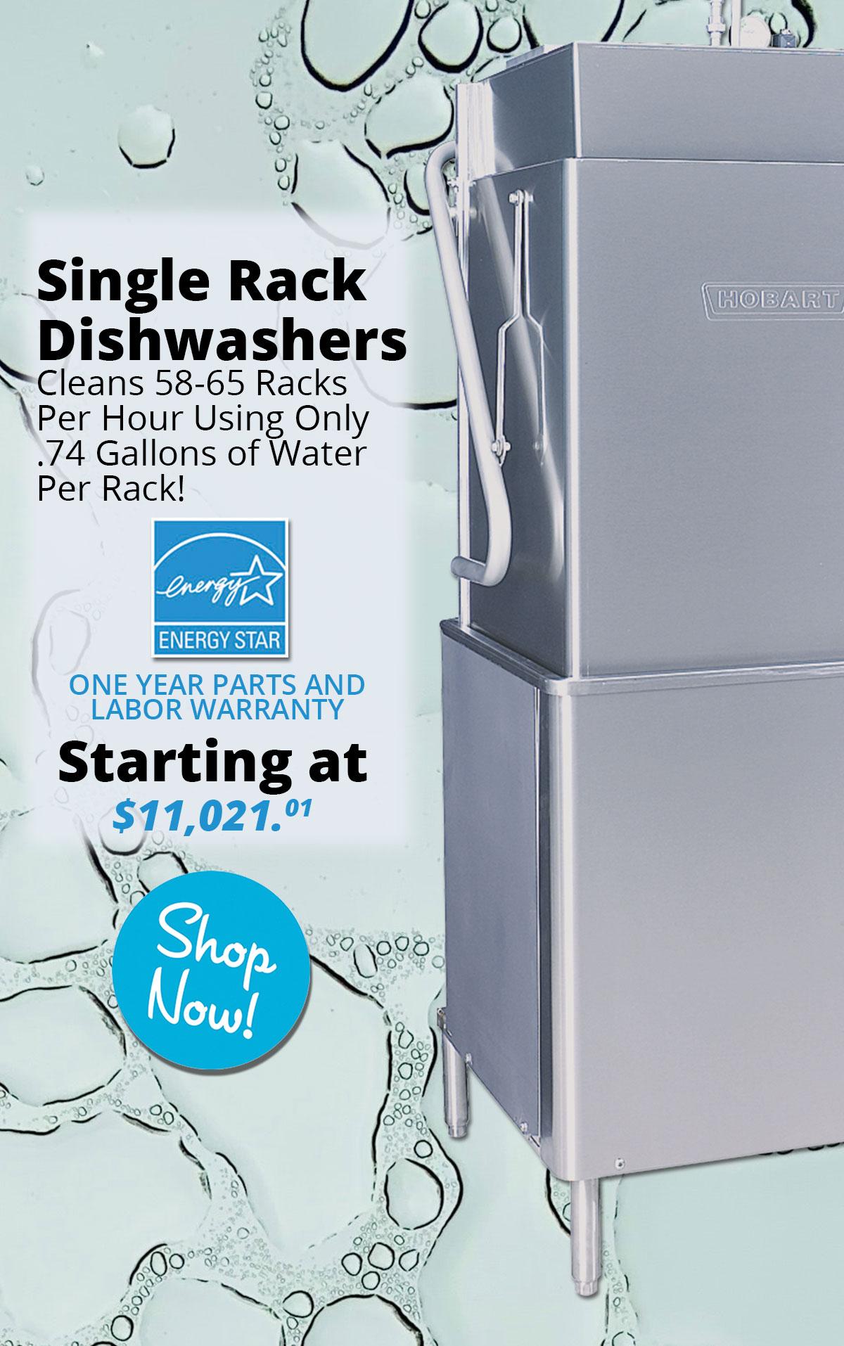 Hobart Single Rack Dishwashers starting at $11,020.01