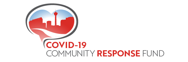 COVID-19 Community Response Fund. A graphic of the Calgary skyline.