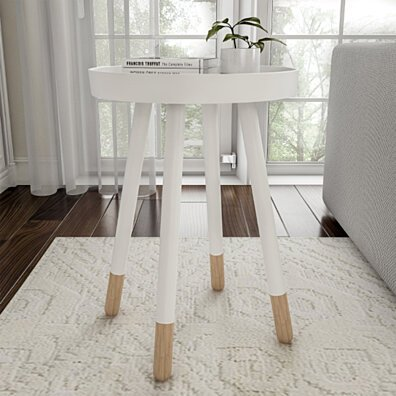 White End Table Round Mid-Century Modern Wooden Contemporary Decor Display and Home Accent Table