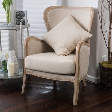 Milton Beige Fabric Wing Chair