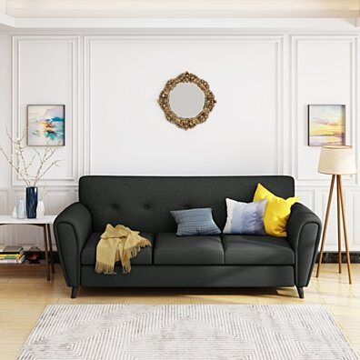 Emily Buttoned Traditional Fabric 3 Seat Sofa