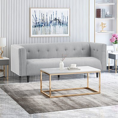 Plano Mid-Century Modern Fabric Upholstered Tufted 3 Seater Sofa