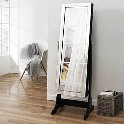 Inspired Home Margaret Full Length Jewelry Cheval Armoire Makeup Storage Organizer Mirror Border Lockable with LED Lights