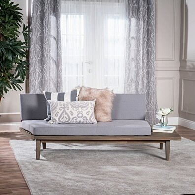 Emmory Indoor Minimalist Wood Right Sided Sofa