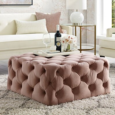 Mauricio Velvet or Linen Cocktail Ottoman - Allover Tufted | Square | Castered Legs | By Inspired Home