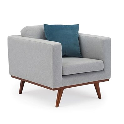 James Mid-Century Modern Fabric Tufted Club Chair