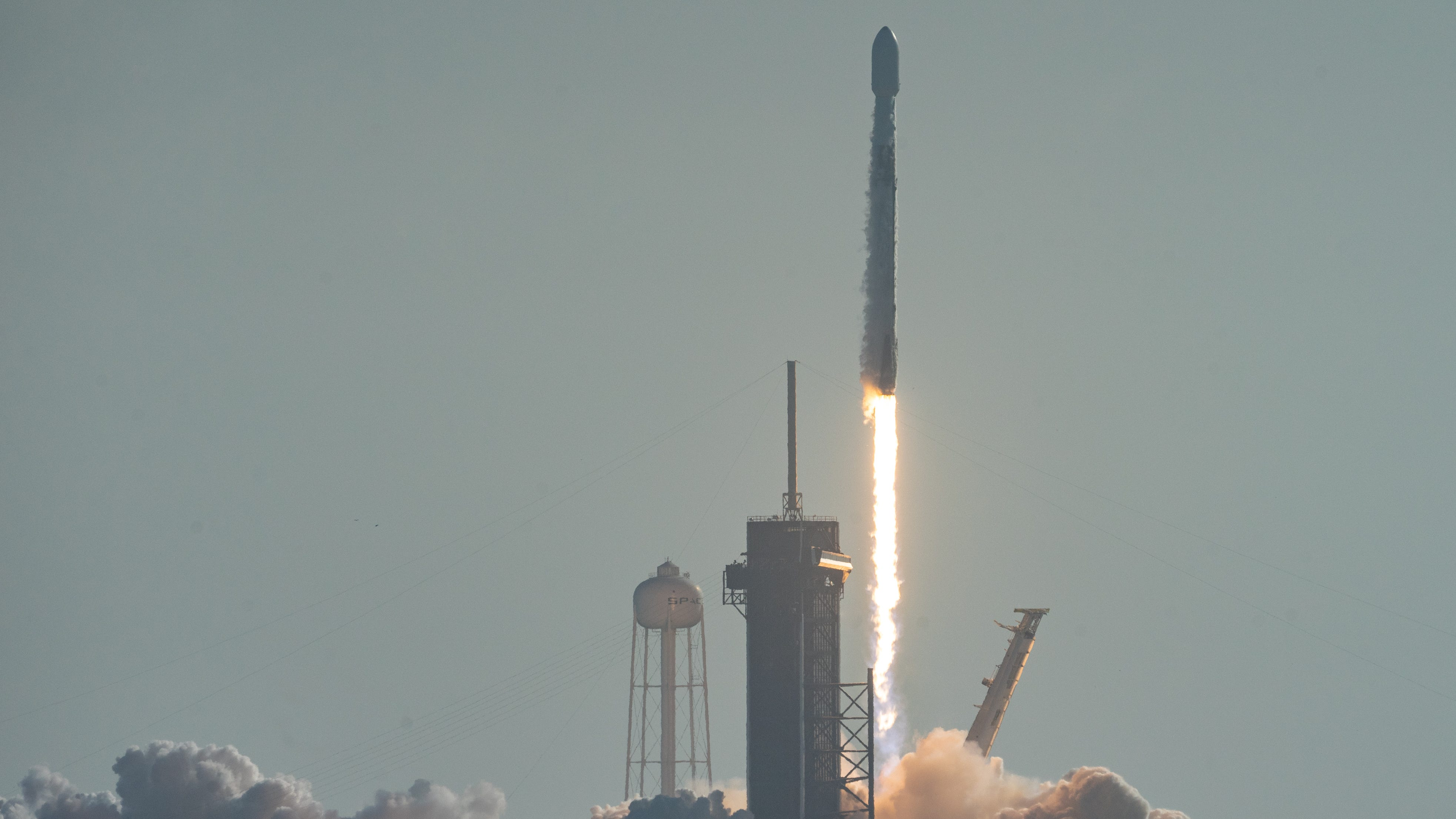 A SpaceX Falcon 9 rocket launches from Kennedy Spa