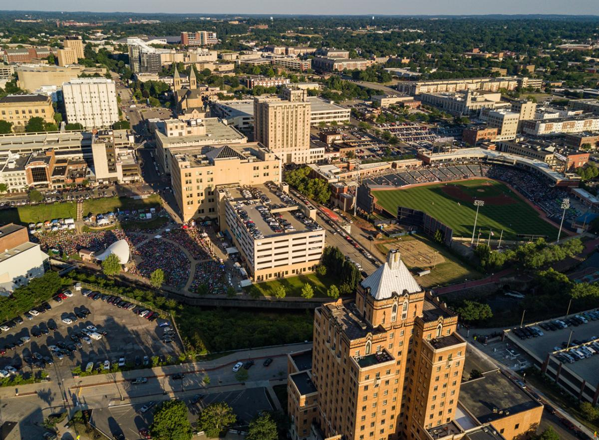 Aerial photograph of downtown Akron_ Ohio by Tim Fitzwater