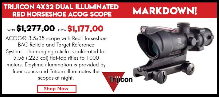 Trijicon 4x32 Dual Illuminated Red Horseshoe / 223 Dot Reticle ACOG Scope with TA51 Mount