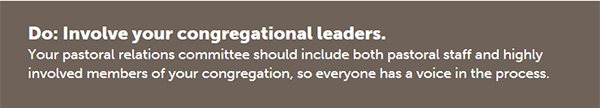 Do: Involve your congregational leaders.