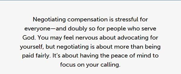 Negotiating compensation is stressful for everyone - and doubly so for people who serve God.