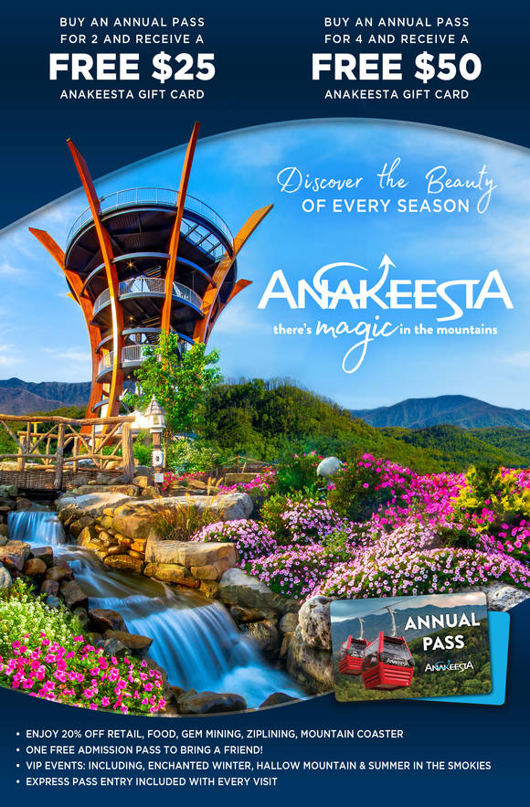 Buy an Anakeesta Annual Pass for 2 and receive a 25 dollar Anakeesta Gift Card or an Annual Pass for 4 and get a 50 dollar Anakeesta Gift Card. See site for more details.