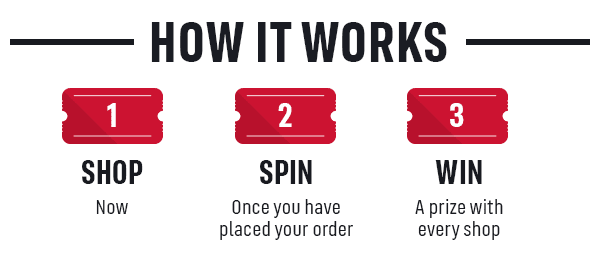 HOW IT WORKS 1 SHOP NOW 2 SPIN ONCE YOU HAVE PLACED YOUR ORDER 3 WIN A PRIZE WITH EVERY SHOP