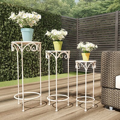 Plant Stands Set of 3 Indoor or Outdoor Nesting Wrought Iron Round Decorative Potted Plant Accent