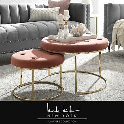 Nicole Miller Keanu Nesting Ottoman - Upholstered | Metal Frame | Set of 2