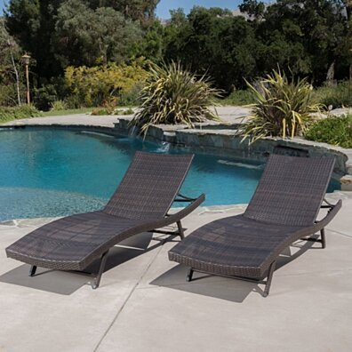 Eliana Brown Wicker Chaise Outdoor Lounge Chairs for Lawn, Patio