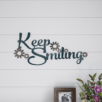 Metal Cutout- Keep Smiling Decorative Wall Sign-3D Word Art Home Accent Decor