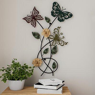 Garden Butterfly Metal Wall Art- Hand Painted Decorative 3D Butterflies/Flowers