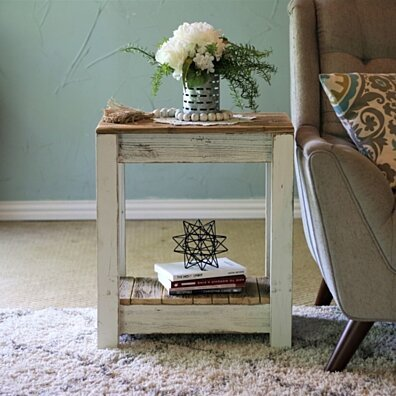 White Combo End Table for Living Room, Bedroom, Kitchen