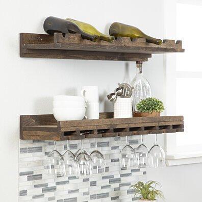 Rustic Luxe - tiered wine racks - large - set of 2-Dark Walnut-36 x 10