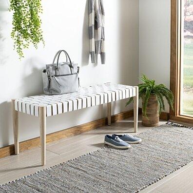 Amalia Leather Weave Bench White / Light Oak