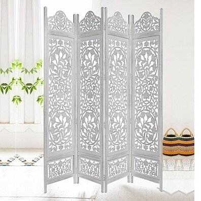 Handcrafted Wooden 4 Panel Room Divider Screen Featuring Lotus Pattern Reversible
