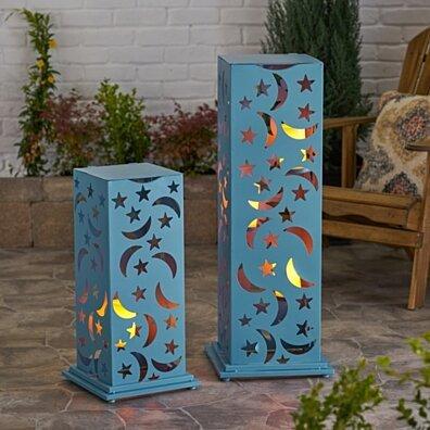 Rovien Outdoor Iron Cutout Lantern (Set of 2)