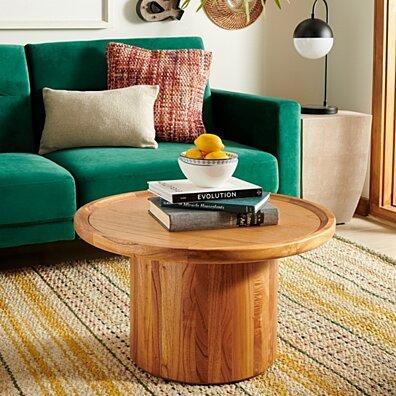 Devin Round Pedestal Coffee Table Natural Brown