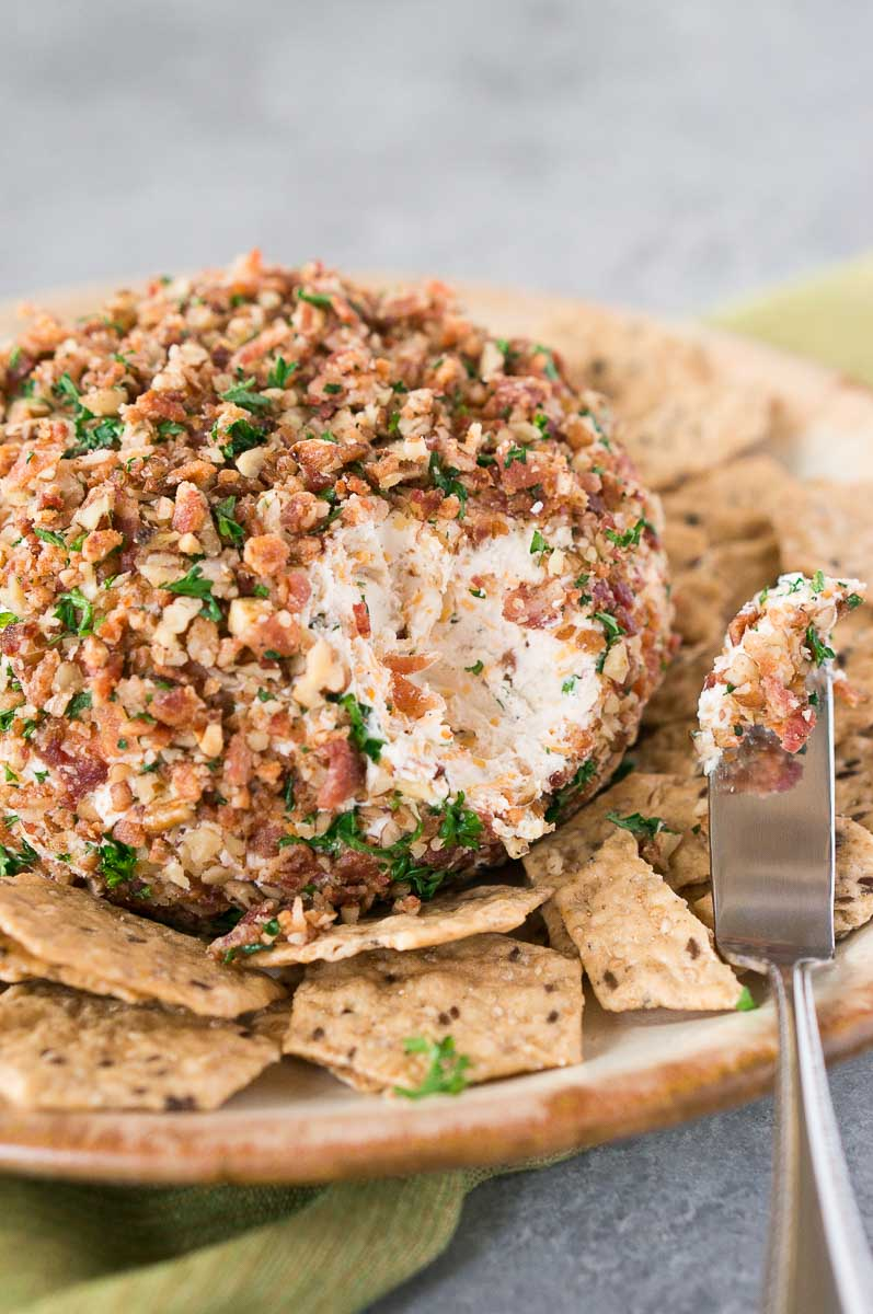classic bacon pecan cheese ball recipe served with crackers