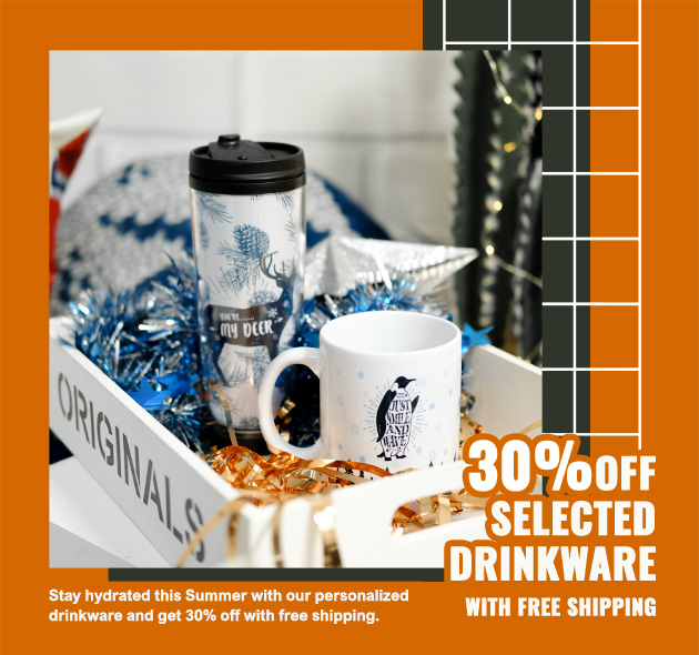 30% off selected drinkware with free shipping.